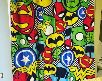 Superhero Shower Curtain Superhero Bathroom Decor Comic Book Shower Curtain  Kids Shower Curtain Boys Shower Curtain
