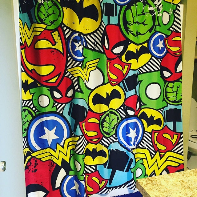 Superhero Shower Curtain Superhero Bathroom Decor Comic Book