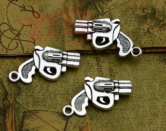 10 pcs 30x28mm Antique Silver Vintage 3D Small Pistols Handguns Hand Guns Charms Pendants