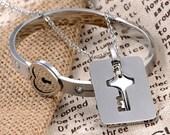 Titanium Steel Heart Lock Bangle and Key Necklace His  Hers Bracelet  Necklace Couples Set Bangle Necklace Set Partner Set