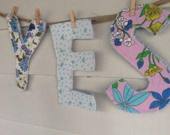 YES Aqua quilted letters for display or play, nursery decor, home decor, office decor, upcycled, reclaimed, repurposed