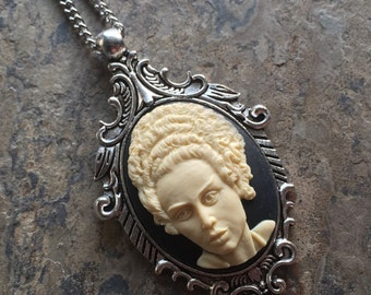 """GoTHiC Horror BRIDE of Frankenstein, The Monster Cameo Silver Pendant Necklace w 18"""" Chain"""