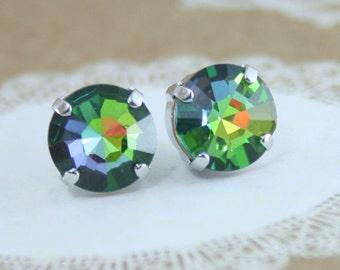 rainbow crystal earrings,crystal earrings,vintage crystal earrings,Vintage Swarovski earrings,Vitrail Medium earrings,Rainbow earrings