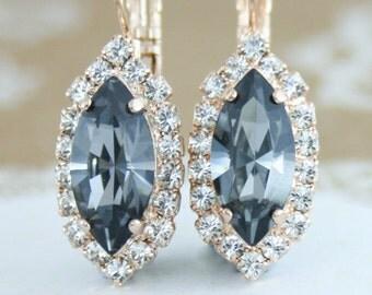 Marquise earrings,Navette earrings,bridal earrings,bridesmaid earrings,Swarovski,Grey crystal earrings,gray wedding jewelry,silver night