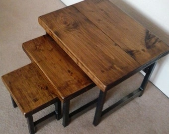 Nest of 3 rustic coffee tables wood & metal industrial chic