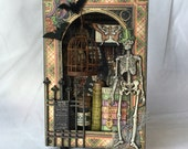 Cyber Monday, Rare Oddities Altered Tin, Halloween Decoration, Skeleton, Curiosity Shoppe