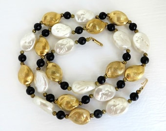 Black White and Gold Glass Bead Vintage Necklace, 29 Inch Length