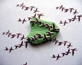 Rubber Stamp, Birds in Flight, Hand Made, Wildlife Bird Design
