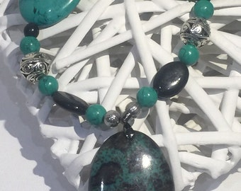 Green & Black Turquoise Chunky Statement Pendant Necklace