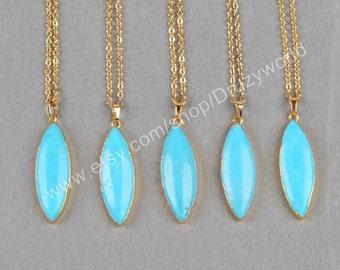 Wholesale Marquise Howlite Turquoise Necklaces With Gold Plated Chain Olive Turquoise Pendant Necklace Handmade Gemstone Jewelry G0836-N