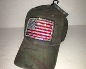 Swarovski crystal bling American flag camo adjustable hat