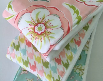 Baby Girl Burp Cloths ~ Cloth Diaper Burp Cloths ~ Michael Miller ~ Bella Butterfly ~ Shabby Chic Nursery ~ Blue ~ Coral