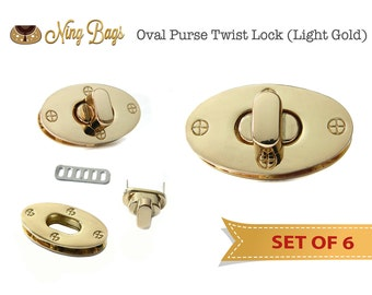 SALE! Set of 6 // Oval Purse Twist Lock, Purse Turn Lock, Purse Locks, Bag Hardware in Light Gold Finish