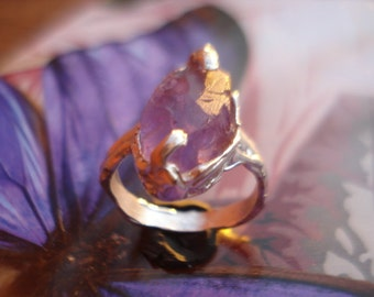 Amethyst Ring - Rough Amethyst Ring - Sterling Silver Ring - Raw Amethyst Ring - Engagement Ring K249
