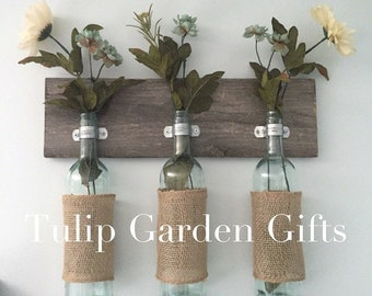 Burlap Wine Bottle Trio Wall Vase on Wood, Wine Bottle Wall Vase, Wine Bottle Bud Vase, Three Bottle Wall Vase