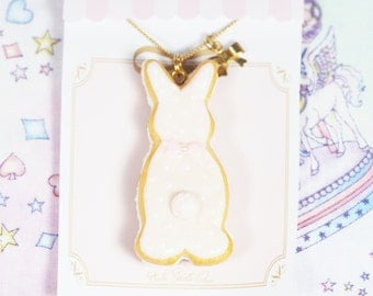 Pink Icing Cookie Bunny Necklace