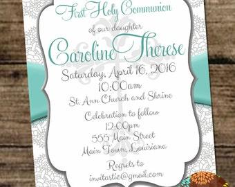 1st Communion Girl Invitation - 1st Holy Communion - Religious Girl Invitation - Lace and Teal Communion Invite for Girls