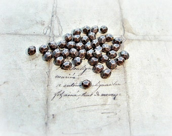 20 Antique Copper Spacer Beads Round Faceted 4mm