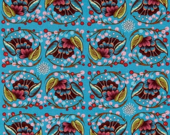 Curated Bloom in Fun Blue (Laminate Fabric) by Anna Maria Horner from the Loulouthi collection for Free Spirit