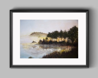 Watercolor Painting - Scenic Sunrise on the Pond - Instant Digital Download Art Print - Original Watercolor Art Print