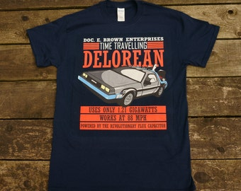 Back to the Future - Doc E. Brown Enterprises Time Travelling Delorean T-shirt