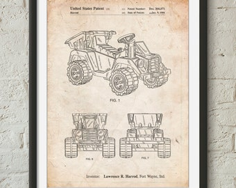 Kids Dump Truck Patent Poster, Retro Toys, Play Room Wall Art, Kids Room Decor, Toy Decor, PP0951