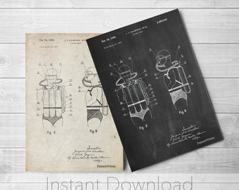 Diving Suit Printables, Jacques Cousteau Art, Nautical Wall Decor, SCUBA Diving, Underwater Art, PP0897