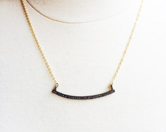 Pave Bar  &  Gold ChainNecklace