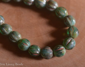 NEW! Rainforest Melons (25) - Czech Glass Bead - 6mm - Melon