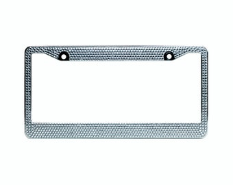Clear Crystal Rhinestone license Plate Frame With Crystal Screw Caps