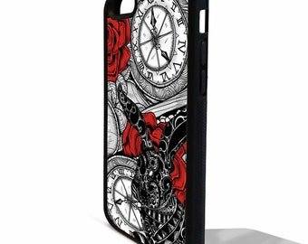 Alice in wonderland fine art white rabbit clock pretty art graphic rubber gel silicone phone case cover for iphone 5 5s SE 5C 6 6s 7 plus