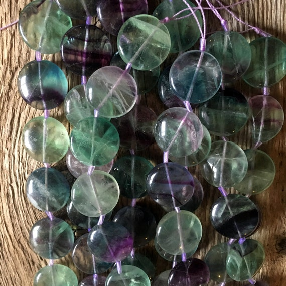 gemstone fluorite puffed coin disc bead 21mm round green purple mixed center drilled. Black Bedroom Furniture Sets. Home Design Ideas