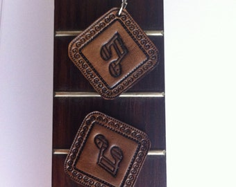 Musical note hand stamped leather earrings