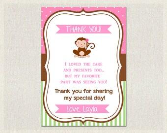 Monkey Thank You Card Birthday Pink Green 1st 2nd 3rd Printable Girls IV-1