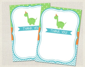 Thank You Cards Printable Birthday Dinosaur Green Blue 1st 2nd 3rd Orange Boys IV-17