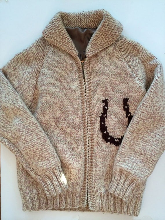 Cowichan Horse Sweater Equestrian Motif By Vintagebybeth