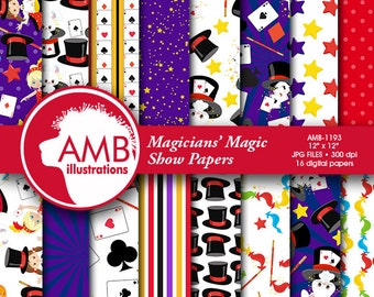 Magician Digital Paper, Magic Party Papers, Magic Show Birthday Party scrapbook papers, digital backgrounds, commercial use, AMB-1193