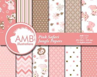 Jungle Animal Digital Papers, Elephant digital papers, Baby Animal Nursery scrapbooking papers, commercial use, AMB-1216