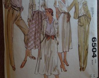 McCalls 6504,  Size 14, misses, womens, petite, junior, separates, UNCUT sewing pattern, craft supplies