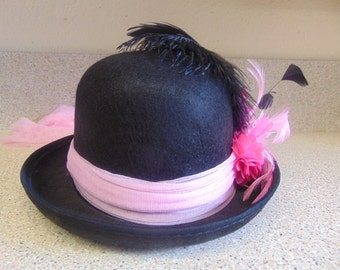 Black Pink Derby Bowler Costume Party Hat