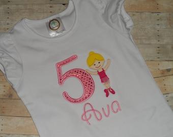 Baby Toddler Girls custom applique ballerina birthday shirt 12m 18m 2t 3t 4t 5t