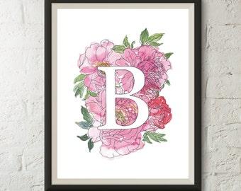 Customizable Watercolor Floral Initial Print