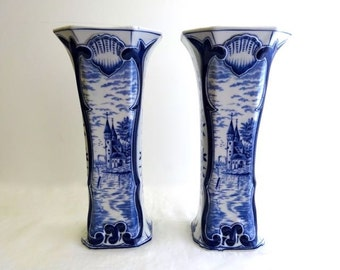 Antique Pair Delft Vases, Signed, Blue and White, Mint Condition, 19th century