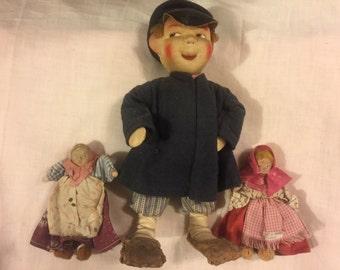 Three Vintage Russian peasant dolls