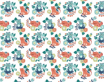 Lewis & Irene Patchwork Quilting Fabric Sam and Mitzi - A107-2 Contented cat Mitzi on white
