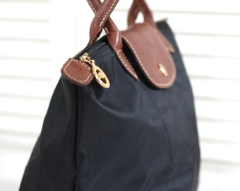 LONGCHAMP PLIAGE. French leather bag. Made in France. French Longchamp bag. French handbag. French purse. Luxury bag. Black Longchamp bag.