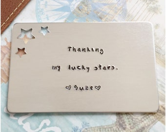 Star Cut Out Aluminum Wallet Insert - Personalized Insert for Wallet - Hand Stamped Card for Him - Custom Romantic Gift for Anniversary