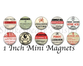 Poison Magnets - Fridge Magnets - Gothic Decor - 10 Magnets - 1 Inch Mini Magnets - Kitchen Magnet