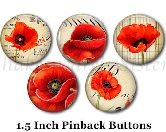 "Poppy Flower Pins - Flower Pins - 5 Pinback Buttons - 1.5"" Pinbacks - Red Poppy Flowers"
