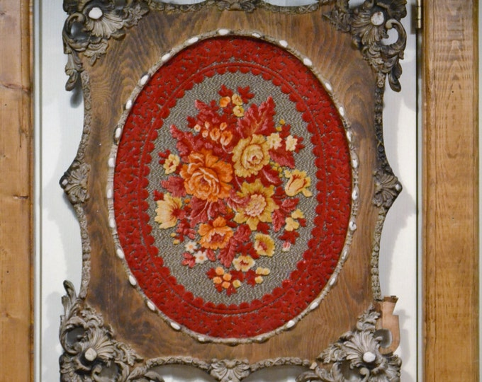 Vintage Wooden Frame Ornate Gold Gesso Red Chenille Floral Fabric Handmade PanchosPorch